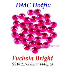DMC Fuchsia Bright SS10 2.7-2.8mm Glass Crystals Hotfix Rhinestone Iron-on Rhinestones Shiny DIY Garment Bag With Glue