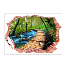 Removable Broken Wall 3D PVC Landscape Wall Stickers Woods The Path River Flying Birds Scenery Wall Stickers Home Decoration