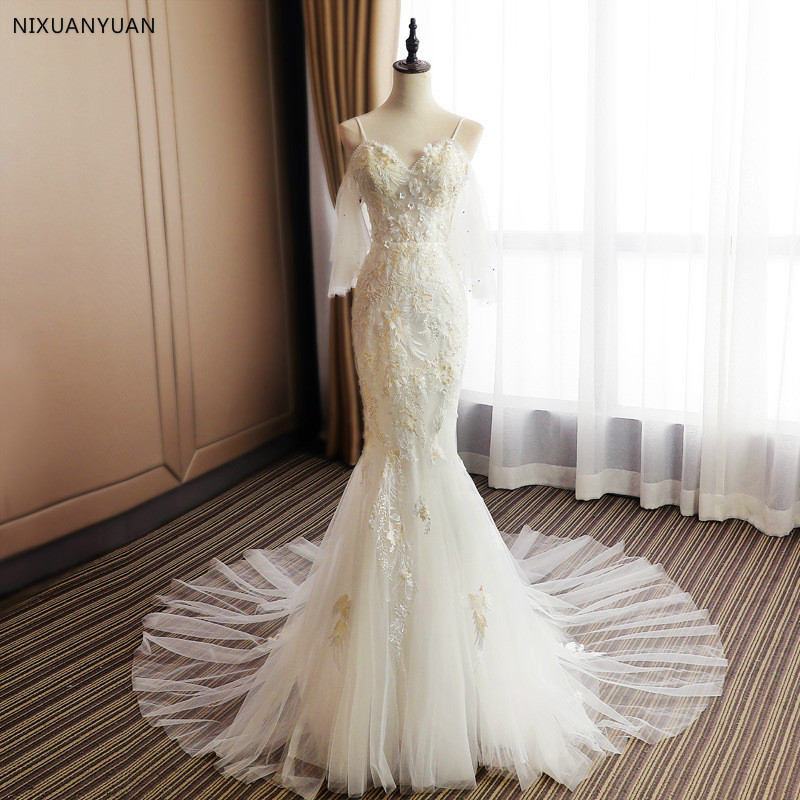 2019 New Beach Vestido De Noiva Mermaid Long Sleeve White Wedding Dresses Illusion Lace Sexy Cheap Lace Bridal Gowns