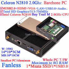 Fanless barebone mini pc with Bay Trail M Intel Celeron N2810 dual core dual threads 2.0Ghz CPU USB 3.0 HDMI VGA