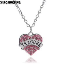 XIAOJINGLING 2017 Fashion Pink Heart Crystal Necklace Jewelry Engraved TEACHER In Heart Pendant Necklaces For Women