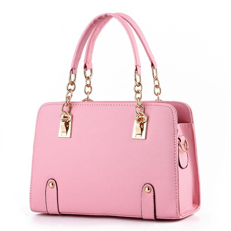 Lovely Pink PU Women Shoulder Bag Handbag Fashion Summer Crossbody Clutch Zipper Metal Chain Fashion Tote<br>