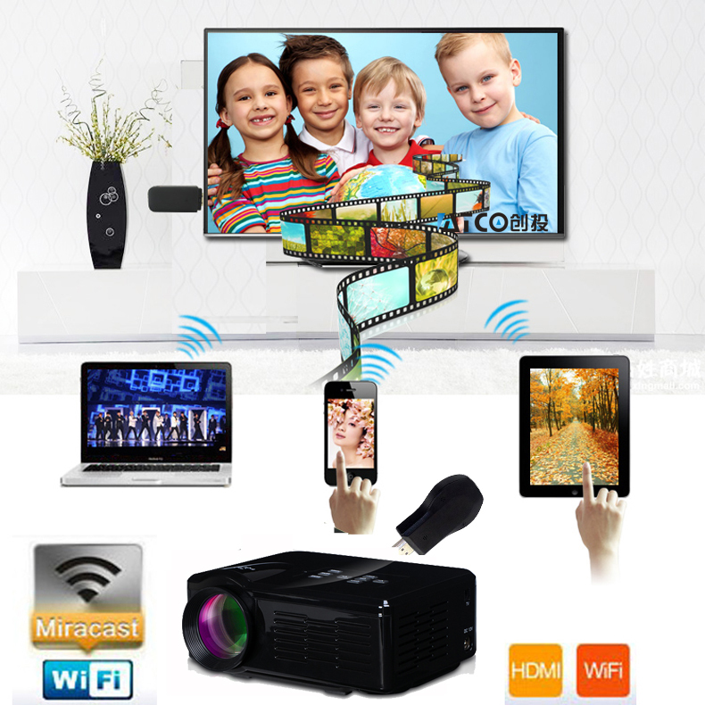 Wifi Wireless EZCast Home Theater 3D Cinema 900lumens 1080P HD piCO HDMI USB Video Digital Multimedia LCD LED Mini TV Projector<br><br>Aliexpress