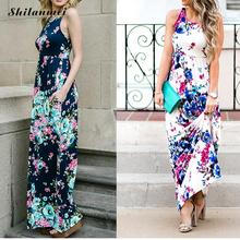 2017 Casual Women's Split Floral Print Flowy Party Maxi Dress with pocket Milk Silk Summer Beach Boho Wedding Evening Long Dress