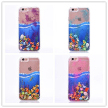 Dynamic Liquid Glitter Stars Sand Sea World Fish Crystal Cartoon Cover Cell Phone Case For iphone 5 5S 6 6S Plus