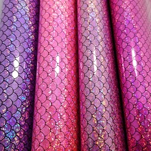 2PCS 21X29CM Synthetic Leather Mermaid Glitter Leather Iridescent Fabric for DIY accessories sofa handbags and shoes 4S24(China)
