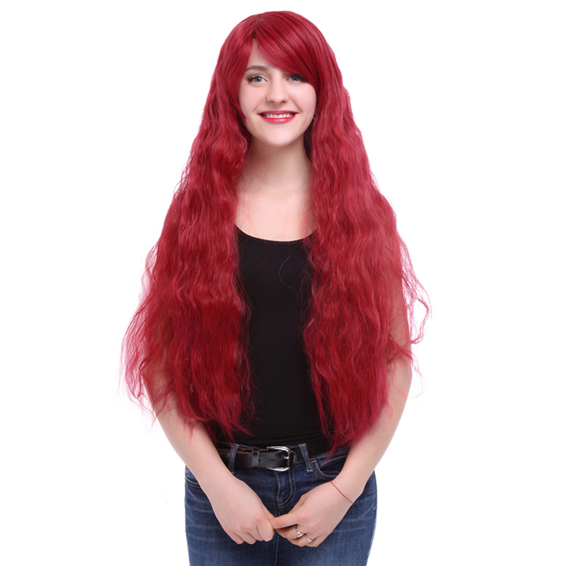 Free Shipping 90CM Women Synthetic Hair Long Dark Red Curly Cosplay Wig<br><br>Aliexpress