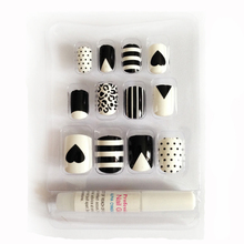 New 12 pieces Mixtapes Special 3D DIY Fashion Cute Style Plastic Art  short Fake false Sticker Nail Tips With Glue Gel [N232]