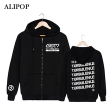 ALIPOP Kpop Korean Fashion GOT7 2017 USA Album Concert TURBU LENCE Cotton Zipper Hoodies Clothes Zip-up Sweatshirts PT355(China)