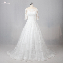LZ099 Alibaba China Off The Shoulder Half Sleeves A Line Cheap Wedding Dress Long Sleeve Applique