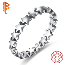 BELAWANG 100% 925 Sterling Silver Rings Star Trail Stackable Finger Ring For Women/Lovers Authentic Jewelry Mother's Day Gift(China)