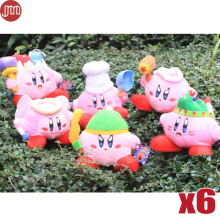 New 6pcs Super Mario STAR Kirby Keychains Popopo Pendant Key Ring 6 Styles 13-20cm Plush Doll Kid Gift Free Track