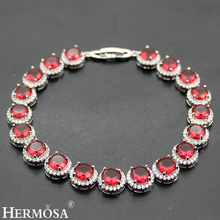 "Hermosa Jewelry HOT Red Garnet 925 Sterling Silver Bracelets 8"" 20cm(China)"