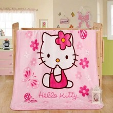 100x140cm Cartoon Pink Hello Kitty Baby Children coral fleece blanket super Soft Coral Quilt Plush Towel Air Sleep Cover bedding
