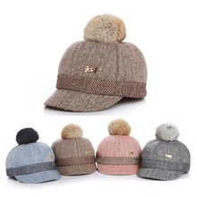 Autumn Winter Thick Velvet Kids Baseball Cap Children Warm Hat Faux Rabbit Fur Ball Caps For Boys Girls