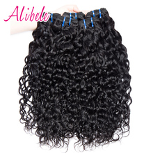 Alibele Raw Indian Human Hair Water Wave Hair Weave Bundles Natural Color Non remy Hair Extensions Can Be Dyed Straighten 1 Pcs(China)
