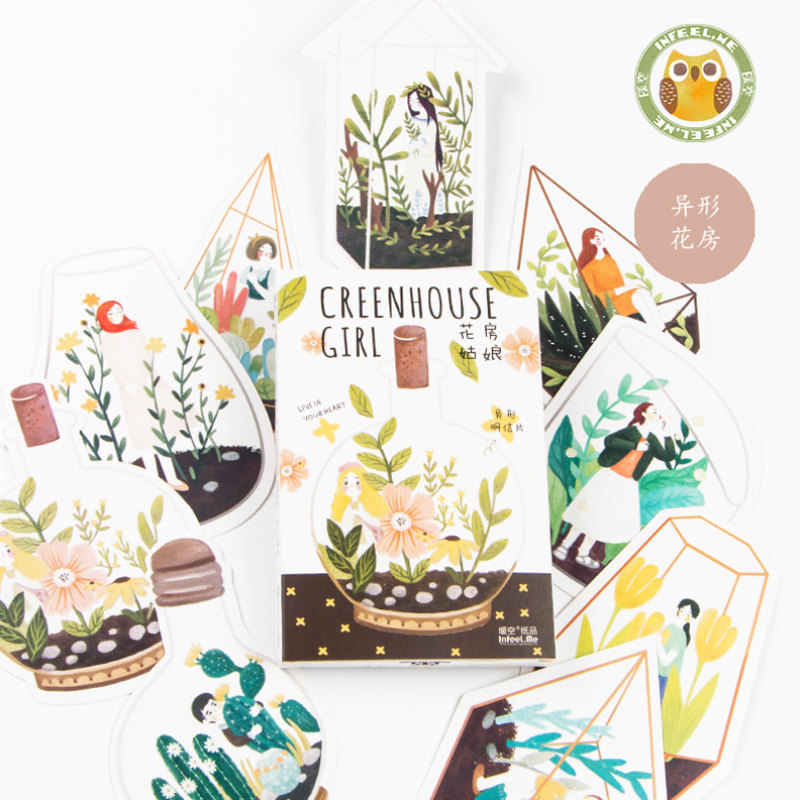 30 pcs/lot novelty heteromorphism Greenhouse Girl postcard greeting card christmas card birthday card gift cards<br><br>Aliexpress