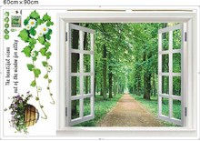 1 Pieces Huge Beautiful Window 3D Green Flowers Wall Stickers/ Art Mural Decal/Wallpaper Large Size:60*90cm