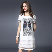 Summer Dress 2017 Plus Size Women Clothing White Dresses  Large Fat Sister Above Knee, Mini A16