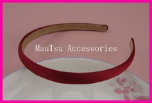 10PCS 12mm Wine Red Satin Fabric Covered Plain Plastic Headbands with velvet back,fabric wrapped hairband hair accessories(China)