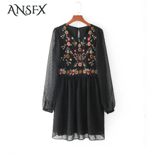 ANSFX Vintage Ethnic Floral Pattern Embroidery Mesh Long Sleeve O-Neck Hollow Out Backless Women Autumn Loose Pleated Mini Dress