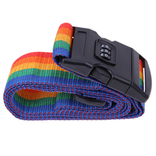 Rainbow-Colored Travel Luggage Suitcase Strap Nylon Password Lock Safety Baggage Backpack Bag Belt with Coded Lock Free Shipping