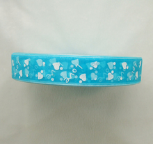 Free Shipping 1inch 10Yards/Lot sea blue color white Love&sweet heart one face organza ribbon