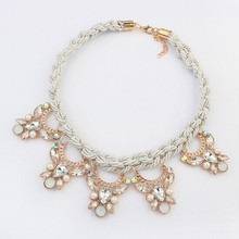Newest Gorgeous hand knitting  Necklace Women Choker Crystal Necklaces & Pendants   XL-243