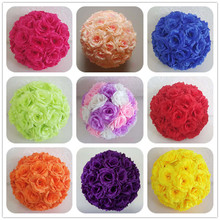 EMS Shipping 12pcs 30cm Silk Rose Kissing Ball Artificial Fabric Pomander Flower Ball For Party Wedding Centerpiece Decoration