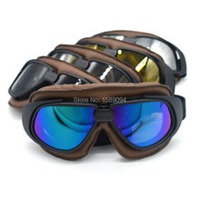 Motocross Helmet Goggles Cycling Riding Sunglass Motorcycle Goggle Vintage Pilot Biker Leather For Motorcycle Bike ATV Goggle