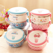 Cartoon Food Container Thermo Lunch Box Stainless Steel Hello Kitty/Deraemon Kids Portable Thermal Bento Lunch Boxes D(China)