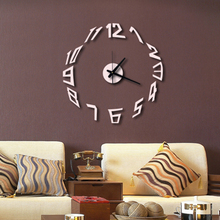Unique Silver Acrylic Numbers Wall Clock DIY Wall Stickers Watches Home Decor