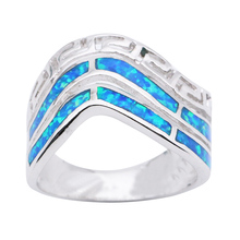 New Design Wave Shaped Silver Blue Opal Ring for Women Unique Style Hot Opal Jewelry Cocktail Ring for Party OR036(China)