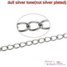 8SEASONS Stainless Steel Link-Opened Curb Chains Findings Silver Tone Color 5.5mm x 3.5mm,3M (B31360)