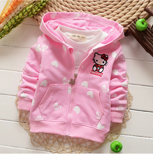 Wholesale New 2017 Girls Baby Cardigan Coat Long Sleeve Hello Kitty Kids Sweatshirt Hoodies Children Clothes Autumn Baby Sweater