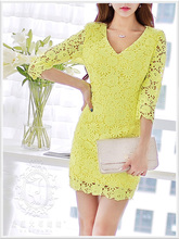DABUWAWA Original 2016 Brand Spring and Autumn Yellow Long-sleeve Plus Size Vintage Casual Lace Women Vestido
