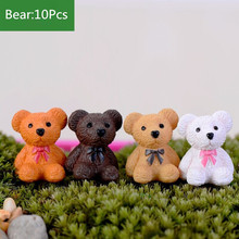 10Pc Cute Bear Cat Lovely Micro Landscape Figures Moss Terrarium Fairy Garden Miniatures Home Decor Accessories Figurine(China)