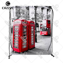 London City Styel Retro Red Telephone Boxes Pattern Print individual Nylon Fabric Drawstring Shoes Storage Dust Bag Pack of 4