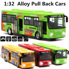 1:32 alloy car models,high simulation city bus , pull back & flashing & musical car toy, free shipping