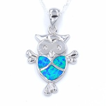 Ocean Blue Night Owl Charm Pendant Necklace with Free Wave Chain