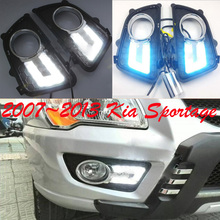 Car-styling,KlA Sportage daytime light,2007~2013,chrome,LED,Free ship!2pcs,KlA Sportage fog light, elgrand fog light
