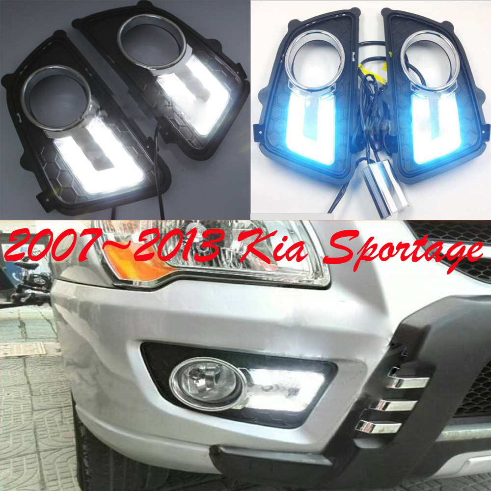 Car-styling,KlA Sportage daytime light,2007~2013,chrome,LED,Free ship!2pcs,KlA Sportage fog light, elgrand fog light<br>