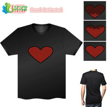 Sound Activated LED T Shirt Light Up Flashing Fashion Heart Love EL LED T-Shirt Men for Rock Disco Party DJ