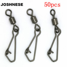 JOSHNESE 50PCS Stainless Steel Swivels Fishing MS+QL Interlock Rolling Swivel With Hooked Snap Fish Hook Connector(China)