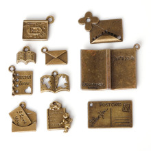 Fashion Sale Antique Bronze Plated Book mailbox Pendants Zinc Alloy Charms Jewelry Findings For DIY Fashion necklace bracelet(China)