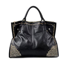 2017 New Hot Casual Women PU Leather Handbags Fashion Shining Rivet Fake Diamond nk Ladies Shoulder Bags Large Tote Bags(China)
