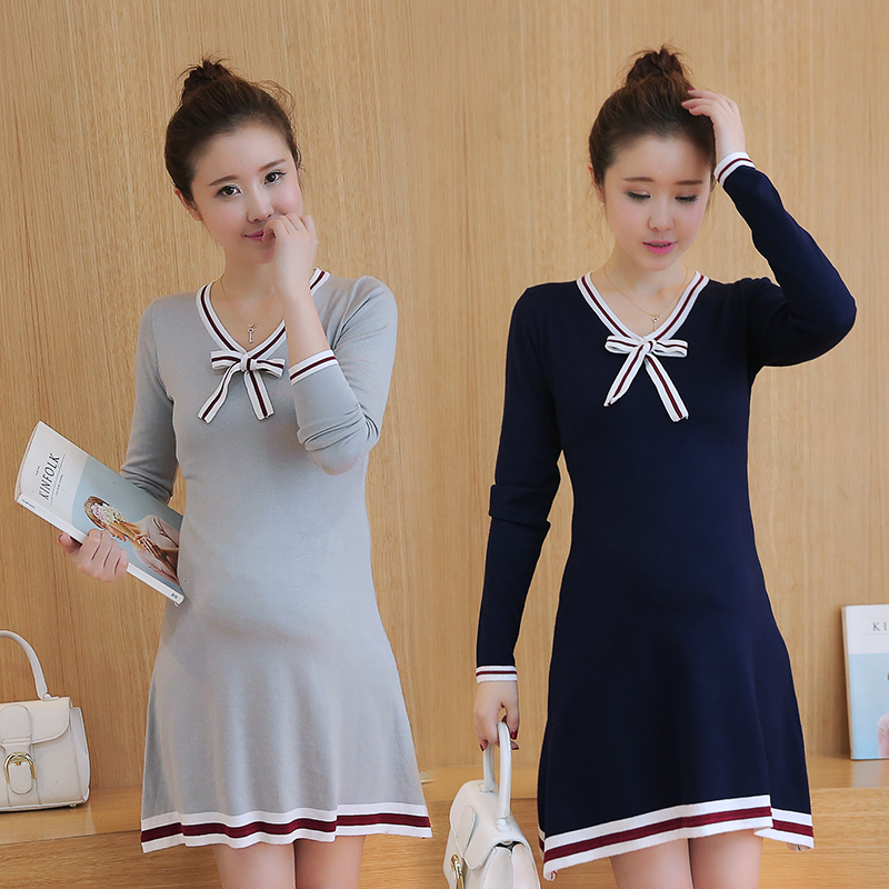 2017 Korean version of the new fall and winter maternity sweater sweater bow Slim thin long-sleeved dress pregnant women<br><br>Aliexpress