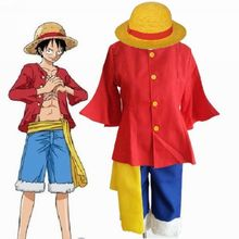 One Piece Cosplay Costumes Japanese Anime Monkey D Luffy Costumes Full Set (Top + Shorts + Waistband + Hat + Straw Shoes)