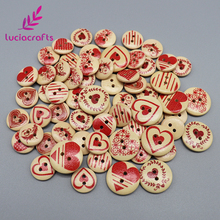 Lucia crafts 50pcs 15mm/20mm Heart Wooden Buttons Mixed Pattern 2-Holes Button Sewing Scrapbooking DIY Accessories 004010018(China)