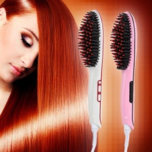 New Brand Electric Hair Straightener Safe Professional Comb Fast LCD Ceramic Hair Straightening Brush Styling hair Flat Irons(China)
